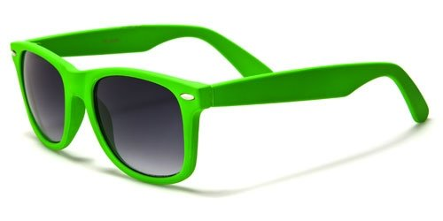 Neon Color Retro Classic Sunglasses 80s Vintage Inspired (Green/Black, - 1980s Sunglasses