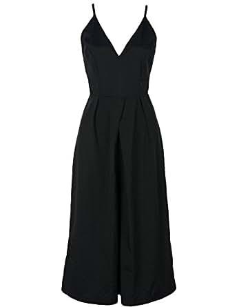 Persun Women's Black Deep V Neck Spaghetti Strap Backless Culotte Jumpsuit