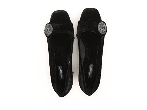 Dolce & Gabbana Squared Heels Pumps in Black Velvet - Model Number: CD0818 AM408 80999 Black FbxgoYZ