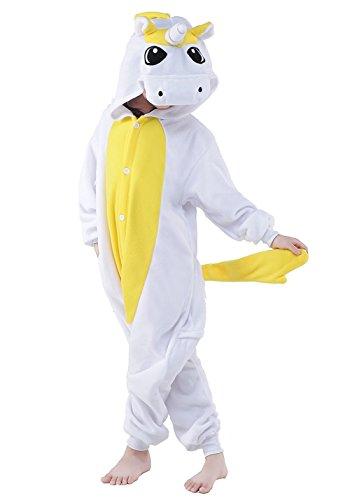 Price comparison product image Kids Unicorn Onesies Kigurumi Animal Costume (105#(47-51 inch), Yellow White Unicorn)