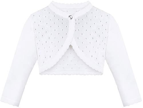 Lilax Baby Girls' Knit Long Sleeve One Button Closure Bolero Shrug 3-6 Months White (Infant Cardigan White Girl)