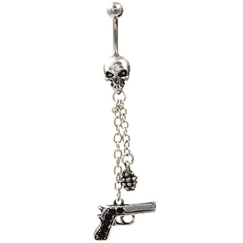 14G Skull Chains Grenade and Pistol Dangle Belly Button Ring (Belly Button Rings Shotgun)