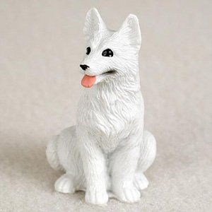 German Shepherd White Dog Figurine, Height Approx. 2 Inches
