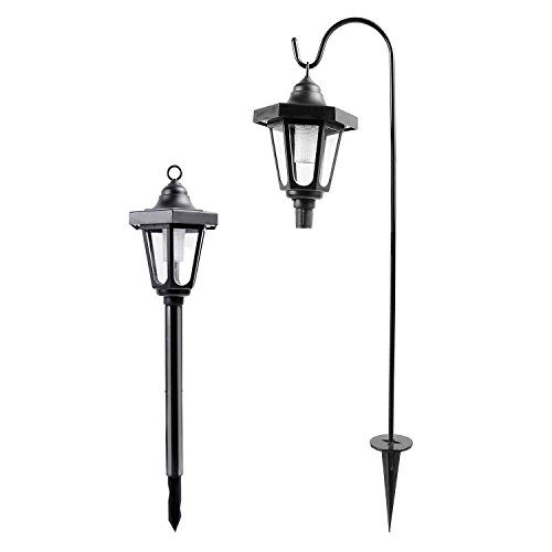 Ohuhu Solar Garden Light, Solar Powered LED Lantern Light for Gardening, Outdoor, Patio, Pathway, Wall, Ground, Hanging Mount, 2 (Outdoor Lantern Lights)