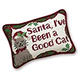 6.5x9 Inches Needle Point Pillow, Santa, I've Been a Good Cat