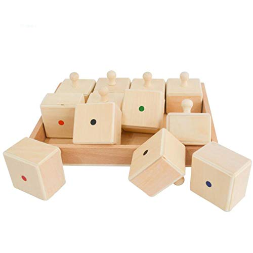 Montessori Sound Cylinder Version Knobbed Sound Cubes with Container Wooden Box Toddler Sensory Early Development Material