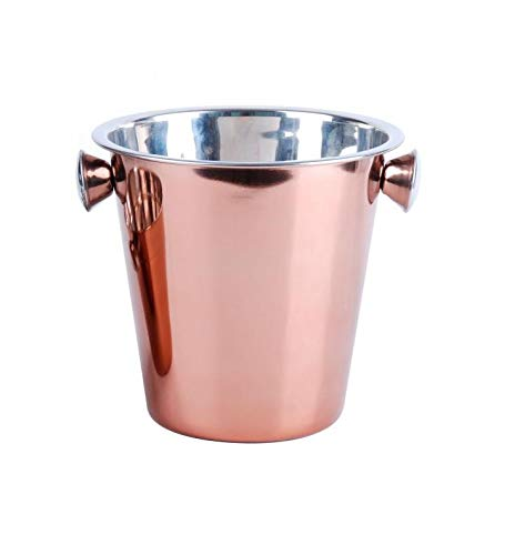 Elegant Rose Gold Double Walled Insulated Stainless Steel with Handles Invero Stylish Copper Finish Wine or Champagne Bucket