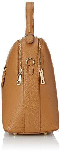 CTM bolso de mano para mujer con cinturon de hombro en el interior, piel suave y genuina hecho en Italia - 34x28x15 Cm Naranja (Cuoio)