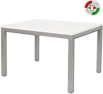 Tavolo Da Pranzo Allungabile In Legno E Metallo Da Cucina Bianco 80x160 Amazon It Casa E Cucina