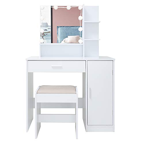 Vanity Set with 10 Light Bulbs, Makeup Table Vanity Dressing Table, 1 Large Drawer, 1 Storage Cabinet,1 Cushioned Stool for Bedroom, Bathroom,White