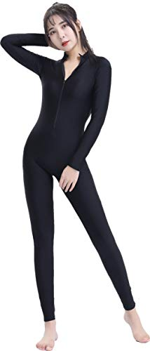Speerise Adult Lycra Spandex Long Sleeve Turtleneck Unitard Bodysuit, Black, XL