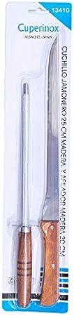 CUPERINOX | Set de cuchillo jamonero y afilador chaira (2 pzas) | mango madera |