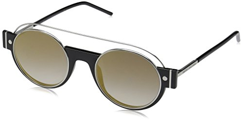 Marc Jacobs Women's Marc2s Round Sunglasses, Shiny Black/Gray/Gold, 49 mm