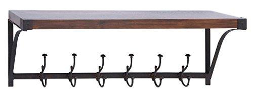 Deco 79 50466 Metal Wood Wall Shelf Hook - Cherry Wall Coat Rack