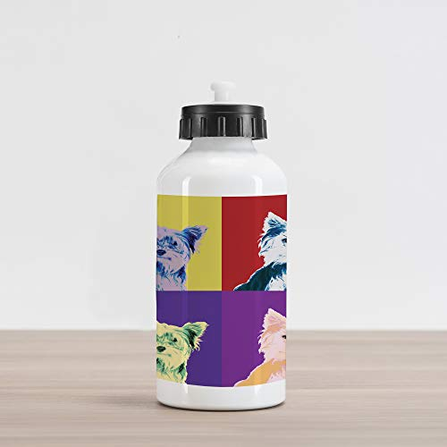 Ambesonne Retro Aluminum Water Bottle, Pop Art Style Composition with Colorful Dog Portrait Vintage Style Nineties Design, Aluminum Insulated Spill-Proof Travel Sports Water Bottle, Multicolor