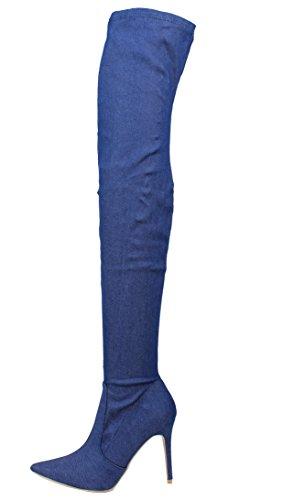 CAPE ROBBIN Womens Pointy Toe Over The Knee Stiletto Dress Heel Blue Denim 3df4Iazo