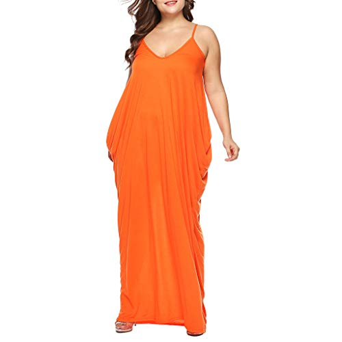 (Sunhusing Women's Large Size V-Neck Sleeveless Pocket Dress Ankle Length Dress Party Beach Sundress Orange)