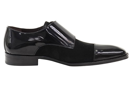 Mezlan Tulsa Black Suede/Patent Double Monk Strap Loafers Shoes Sz: 10.5