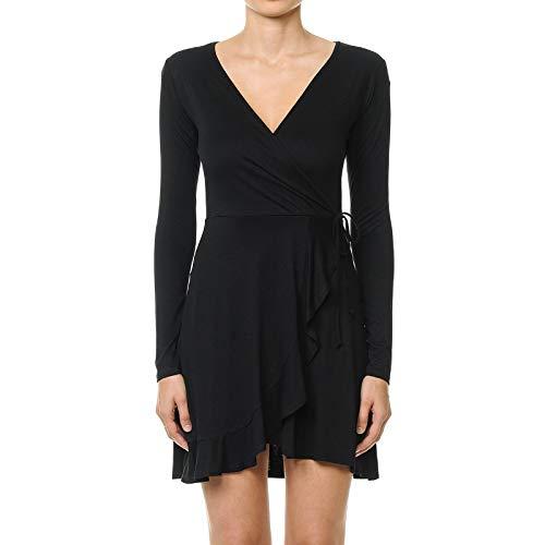 Instar Mode Women's Wrap-Front V-Neck Long Sleeve Knit Mini Tulip Dress Black M