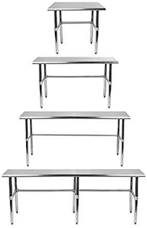 Amazoncom AmGood Stainless Steel Work Table With Open Base RCB - Stainless steel open base work table