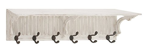 Deco 79 84292 Fir Wood and Metal 6-Hook Wall Shelf, 10
