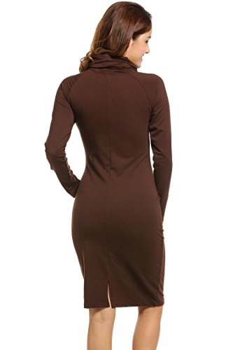 Angvns Manches Marron Longues Robe Femme Moulante 6wqv6r