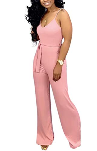 ThusFar Women's One Piece Outfits Sleeveless Sexy V Neck Sleeveless Strap Rompers Jumpers Pink XXL ()
