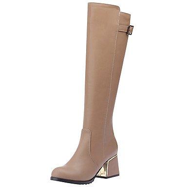 RTRY Zapatos De Mujer Polipiel Moda Otoño Invierno Botas Botas Chunky Talón Cerrado Toe Toe Redonda Rodilla Botas Altas Hebilla Casual De Cremallera US9.5-10 / EU41 / UK7.5-8 / CN42