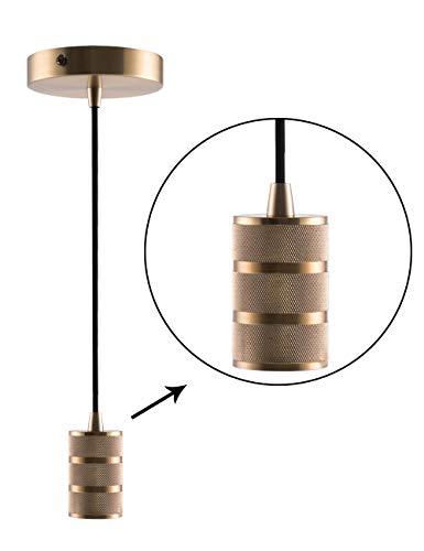 - Gold Mini Pendant Light Fitting Modern Style, Single Light Socket, 4.75'' Canopy with Adjustable 10ft Black Fabric Cord, Ceiling Lighting Fixture, E26 Lampholder, Harwez LP-067-2
