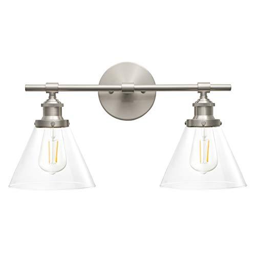 Shade Glass Single Transitional (Tenesa 2 Light Hallway Wall Sconce | Brushed Nickel Bathroom Vanity Light with LED Bulb LL-WL632-1BN)