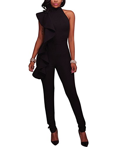 Engood Women's Sexy Ruffle Strapless High Waist Clubwear Long Wide Leg Pants Jumpsuit Rompers Black XL