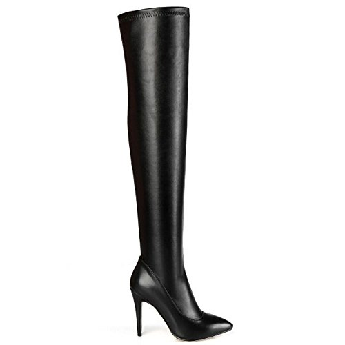 Knee 9CM Classy COOLCEPT Long Sexy Boots Black Women High Over Stiletto AAa1nHOq