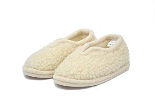 wollwarm - Zapatillas de estar por casa de Lana para hombre beige Wollweiß