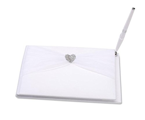 Awtlife Guest Book with Pen Rhinestone Heart Sheer for Wedding Favor White