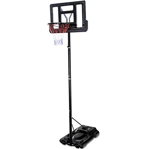 - Giantex Portable Basketball Hoop System In-Ground Base NBA Outdoor Indoor Adjustable Height Stand Poolside Portable Basketball System w/Wheels Shatterproof Backboard