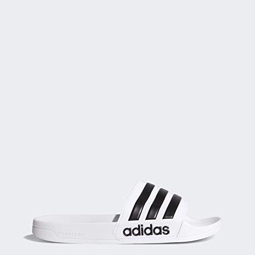 adidas Men's Adilette Shower Slide Sandal, Black/White, 13 M US (White Jordan Sandals)