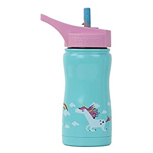 Eco Vessel FROST Kids TriMax Vacuum Insulated Stainless Steel Water Bottle, 13 oz, Blue with Unicorns