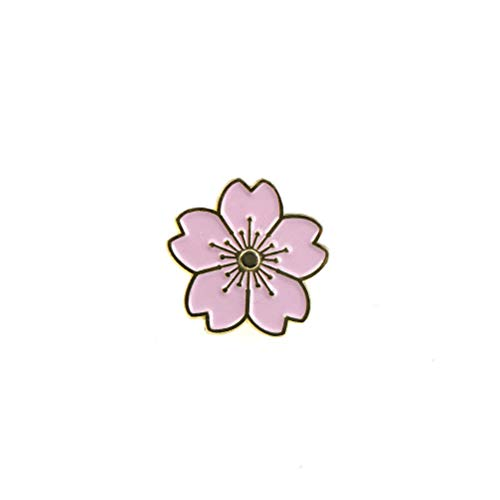 Cherry Blossoms Flower Brooch Enamel Pins Jacket Bag Pin Badge Jewelry Gift LE (Color - Pink)