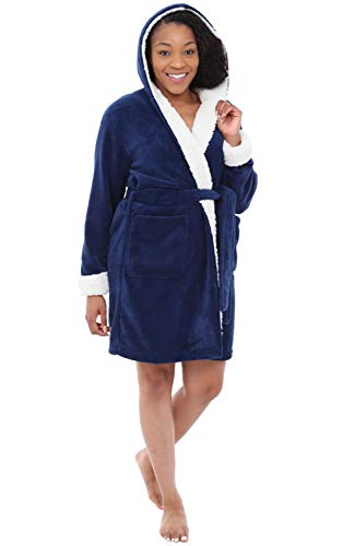 Alexander Del Rossa Womens Short Fleece Hooded Robe, Bathrobe with Trim, Small Medium Navy Blue (A0277NBLMD) (House Sherpa)