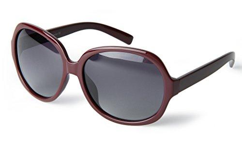 corciova Simple Casual Women's Polarized Sunglasses Uv400 Dark Scarlet Frame Grey - Lens Scarlet