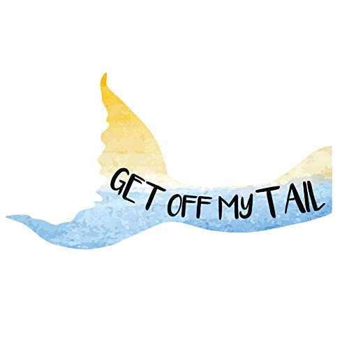 Dark Spark Decals Get Off My Tail, Mermaid Tail No Tailgating Right Facing Tail - 12 Inch Full Color Vinyl Decal for Indoor or Outdoor use, Cars, Laptops, Décor, Windows, and More