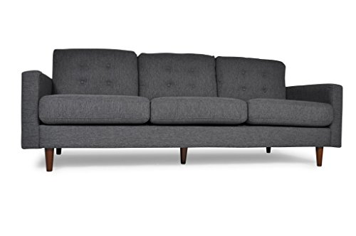 Mid Century Modern Linen Blend Fabric Jones Sofa, Contemporary Grey 3 Seater – Comfortable Tufted Pillows – Very Minimal Assembly – Wood Legs – Satisfaction Guarantee – 1 Year Warranty