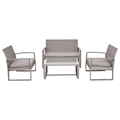 SRETAN 4 Pcs Patio Furniture Set Indoor Outdoor Wicker Steel Rattan Coffee Tea Table Chair Cushions Gray Garden Yard Poolside Size 44.5 x 26 x 29.5 inch (Wrought Vintage Patio Iron Furniture Woodard)