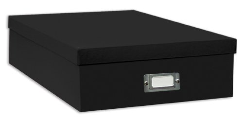 Pioneer Jumbo Scrapbook Storage Box, Black, 14.75 Inch x 13 Inch x 3.75 Inch (Trinket Box Storage)