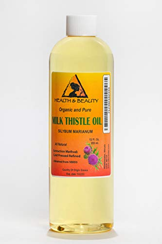 Milk Thistle Seed Oil Refined Organic Cold Pressed Premium Natural 100% Pure 12 oz ()