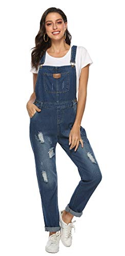 ezShe Women's Ripped Boyfriend Denim Bib Overalls with Pocket Darkblue XXL ()