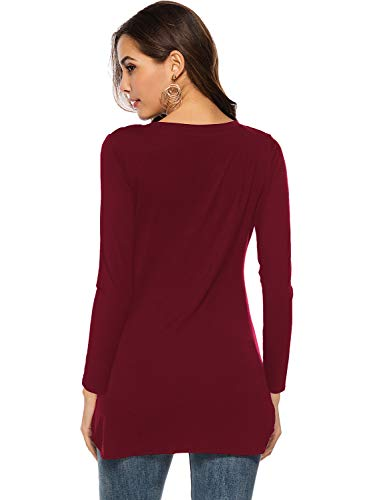 Florboom Womens Long Sleeve Casual T-Shirts Blouse Scoop Neck Tops (Burgundy 2XL)