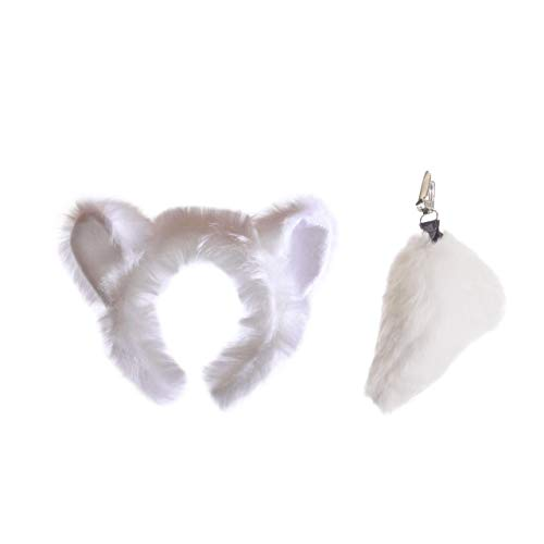Wildlife Tree Plush Polar Bear Ears Headband and Tail Set for Polar Bear Costume, Cosplay, Pretend Animal Play or Safari Party Costumes ()