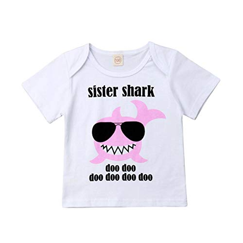 Baby Toddlers Boys Girls Baby Shark Clothes Big Sister Shark Top Tees Lil Brother Romper Matching Outfits (4-5 Years, Big Sister Shark top) ()