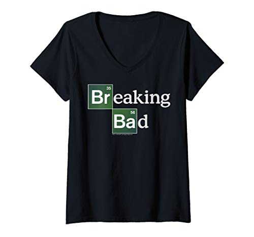 Womens Breaking Bad Periodic Square Logo V-Neck T-Shirt (Breaking Bad Women Tshirt)